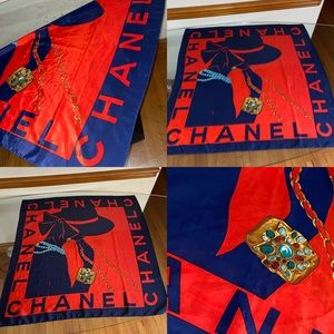💎💎CHANEL  Scarf Jewelry Accessory Ornament Navy.